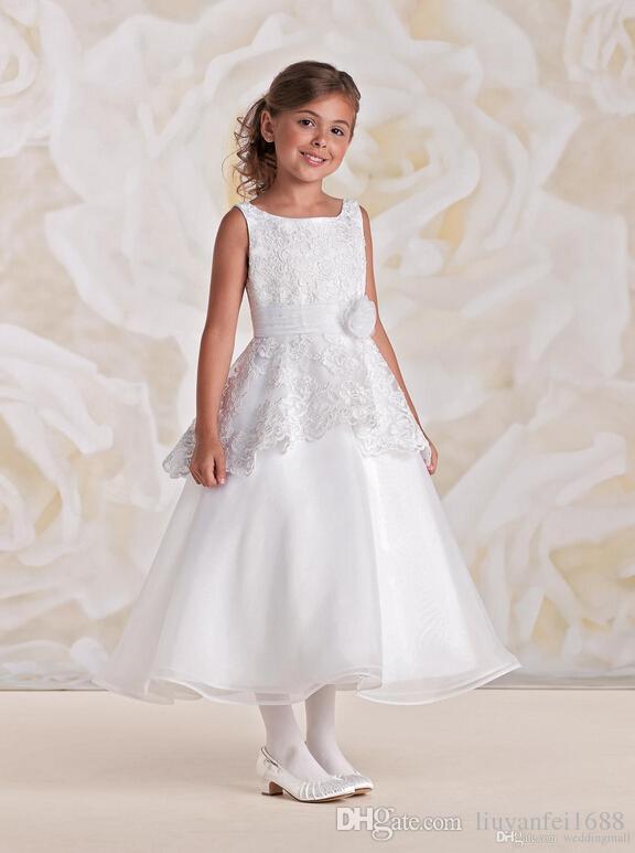Vintage Scoop Lace Sash Organza Enkle lengte baby meisje verjaardagspartij kerst jurken kinderen meisje feestjurken bloem meisje jurken