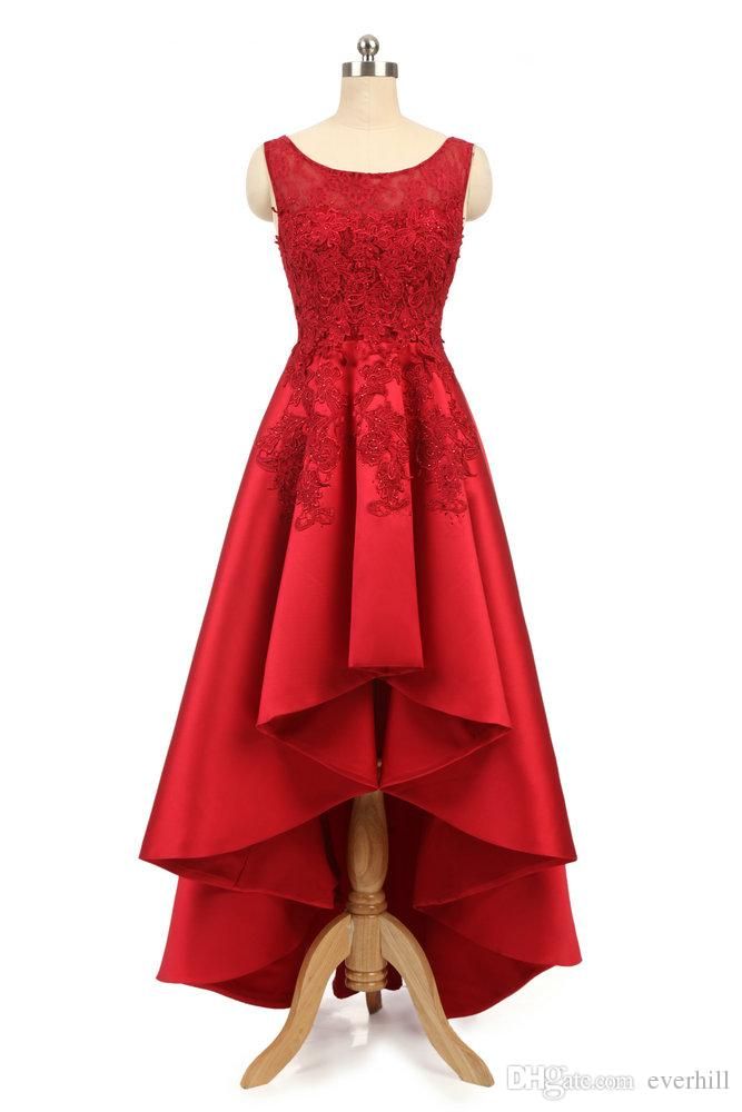 Elegant Red Beaded High Low Evening Dresses Short Front Long Back Satin Lace Appliques Formal Gowns Party Dresses Robe Longue Soiree 2018