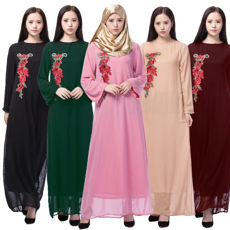M Xxl Chiffon Floral Embroidered Abaya Black Fashionable Women ...