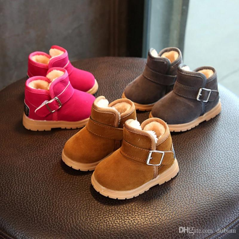 Children Boots Thick Warm Ankle Shoes Cotton-Padded Suede Buckle Boys Girls Snow  Boots Kids Waterproof Fur Baby Boots Round Toe Shoes Suede Baby Snow Boots  ... 86ad2a456419