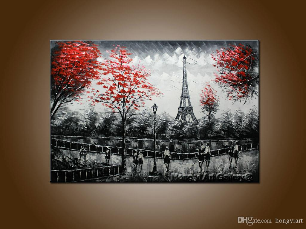 2019 hot sell paris eiffel tower black white landscape arthandpainted street scenery oil painting on canvas living room wall art home decor from
