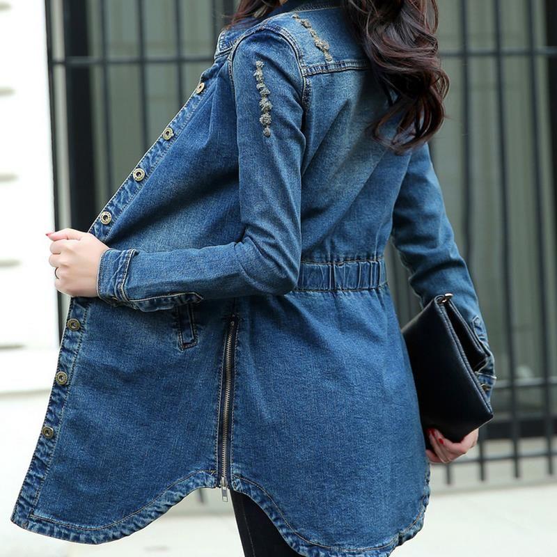 c4921e1fac656 2019 Wholesale Plus Size Summer Jacket Long Sleeve Cardigan Ladies Jeans  Waistcoats Long Denim Women From Freea