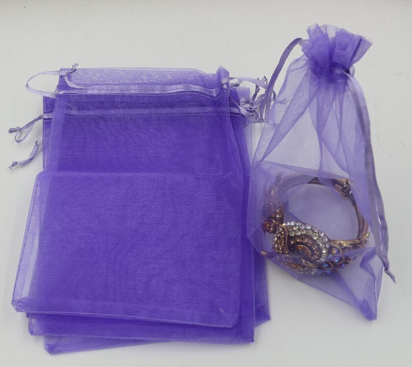 Горячее продавать! 100шт Светло-фиолетовый мешочек с мешком для ювелирных изделий из органзы для свадебных аксессуаров, бусы, ювелирные изделия 7х9см. 9X11 см. Эт.