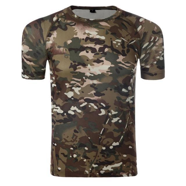 Les hommes d'été militaire tactique T-shirt EMERSON couche étanche de base de la peau Camo Courir Chemises Quick Dry Polyester ShortSleeve Mandrake Kryptek