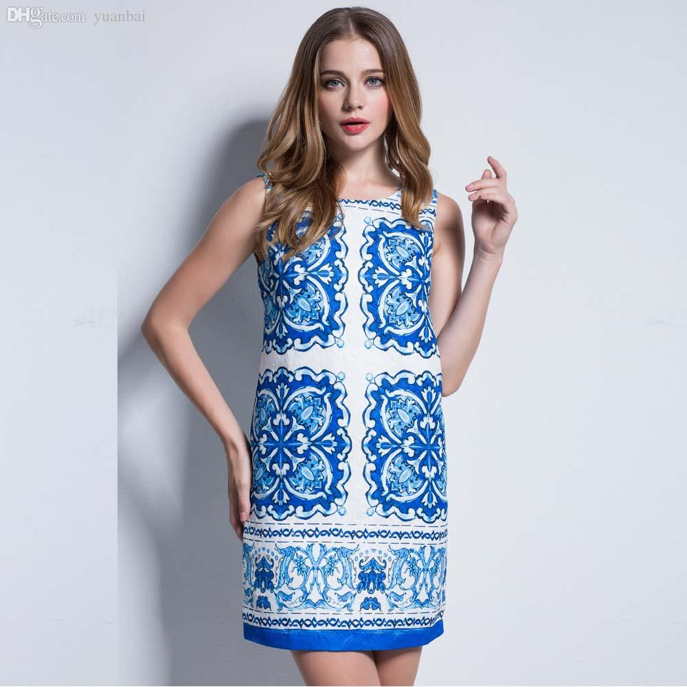 Wholesale-Womens Dresses Party 2015 Brand New Vintage Dress Blue ...