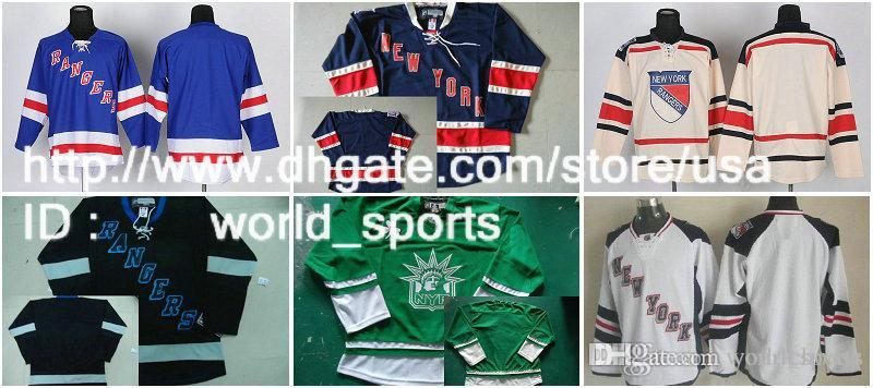Nueva York Luz azul en blanco 2014 de la Serie Crema Clásico de Invierno Estadio Navy Rangers Nhl 85a St.Patty Day Green Hockey Jersey ny
