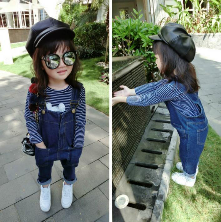 Spring Baby Girls Jeans Jumpsuits Kids Denim Overalls Children Casual Denim Suspender Trousers Jeans Pants Denim Rompers 11303