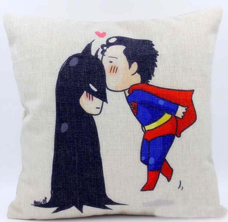 Cushion Cover Cartoon Superman Kiss Batman Pillow Case Linen Cotton