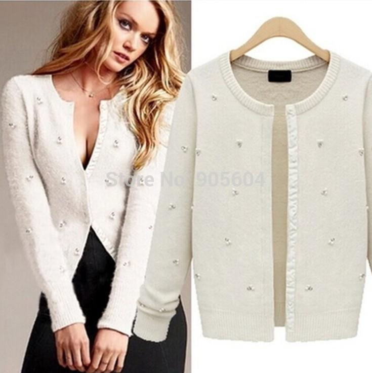 2018 2014 New Women Tiny Clear Crystal Pearl Angora Cardigan ...