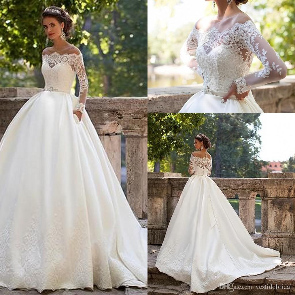 Millanova Ball Gown Wedding Dresses Long Sleeves 2016 Off Shoulder ...