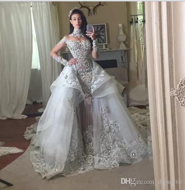 Vestidos de Casamento de Cristal de luxo 2018 Com Saia Destacável de Alta Neck Mangas Compridas Frisado Applique Tribunal Trem Vestidos de Noiva