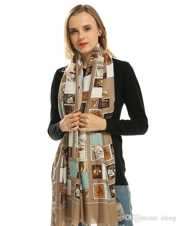brand scarf women's long shawl autumn satin world famous painting flow luxury scarf wraps designer scarf scarfs for women 180*100cm 101