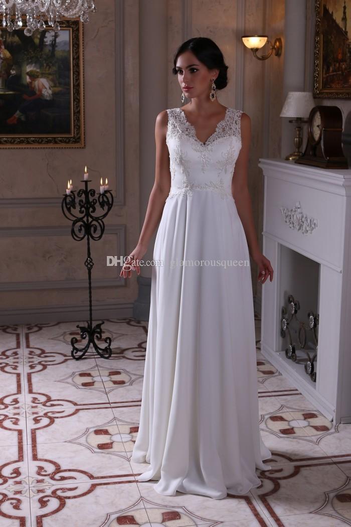 보헤미안 비치 웨딩 드레스 레이스 쉬폰 드레스 V - 목 로우 뒤로 A - 라인 쉬어 플러스 사이즈 신부 웨딩 드레스