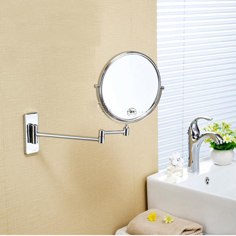 Copper Bathroom Wall Sided Beauty Mirror Telescopic Folding Magnifying