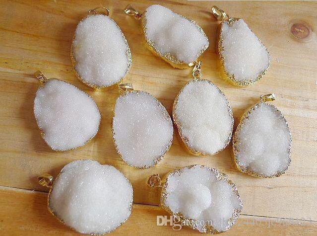Pure White color Druzy Crystal Pendant Gold Gem stone Drusy Quartz Pendants