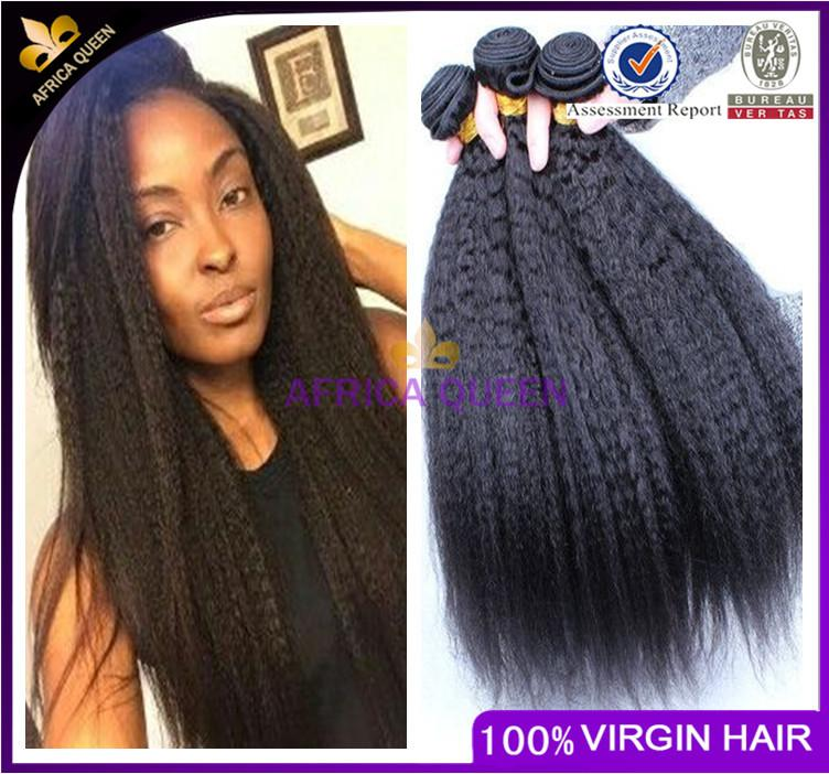 Peruvian Kinky Straight Hair Weave 3 Bundles Coarse Light Yaki