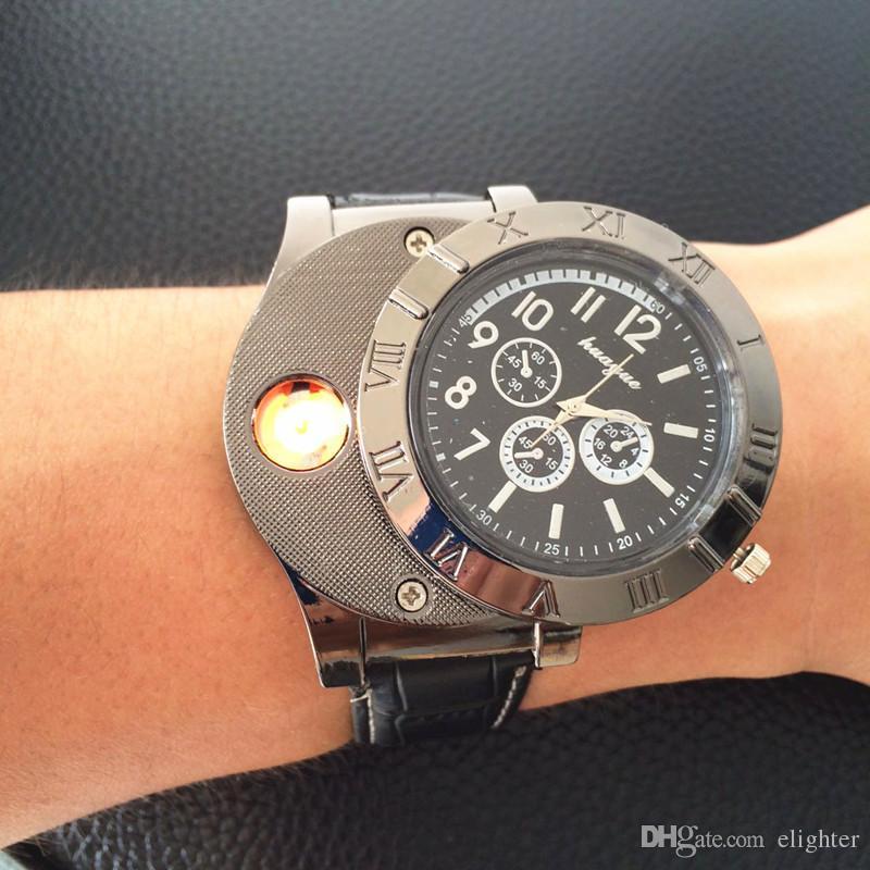 b5e624d3ae3 Compre 2 Em 1 Usb L Latch Isqueiros Relógios De Pulso À Prova De Vento Sem  Chama Usb Isqueiro Elétrico Preto Militar De Carregamento Usb Relógio  Esportivo ...