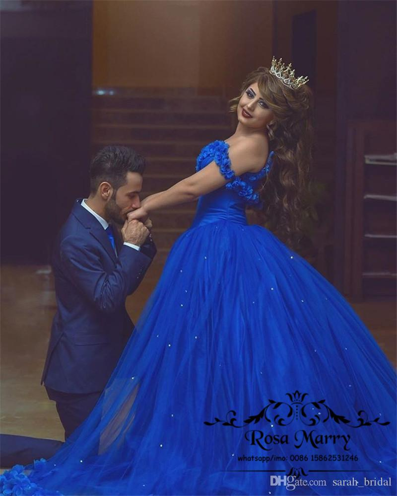 Royal Blue Cinderella Ball Gown Wedding Dresses 3D Flowers Off Shoulder Arabic Muslim Crystals Tulle Skirt 2020 Victorian Cheap Bridal Gowns