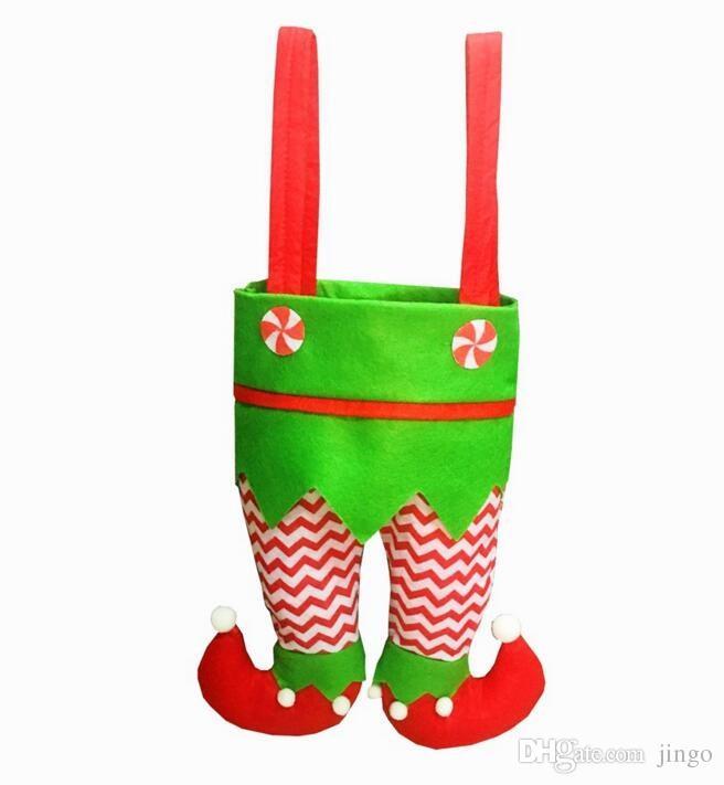 Christmas Wine Bottle Bag Decoration Stripe Santa Claus Candy Bag Elf Gift Bag Ornament Xmas Decorations Wedding Party Supplies 6 Designs