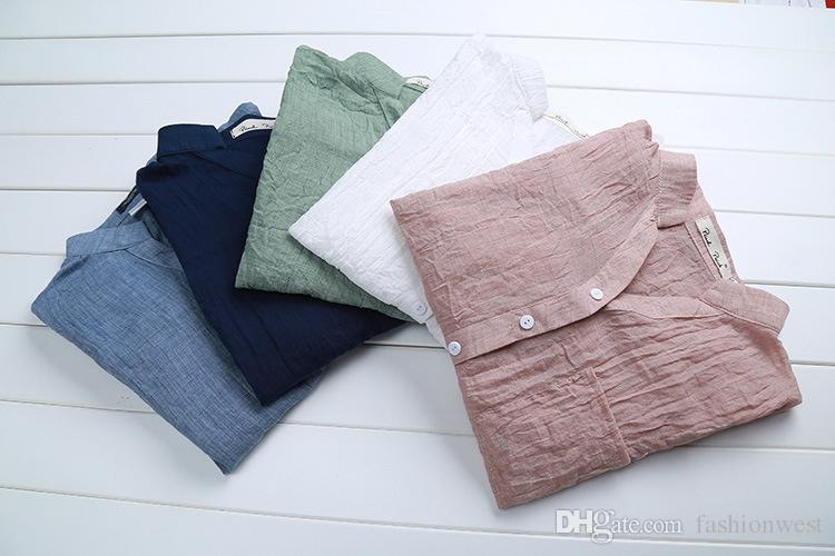 Kadınlar Için bluzlar Yeni Zarif Pamuk Keten Bayan Giyim Moda Ince Kadın Mizaç Saf Renk Sıcak Nedensel Gömlek Kadın Bluzlar Tops