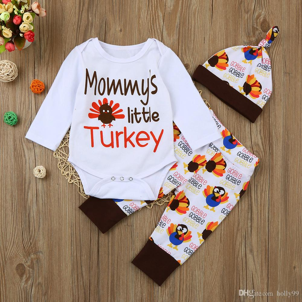 fa98bcdbf Newborn Kids Boys Girls Outfits 3pcs Suit Mommy's Little Turkey Romper  Pants Hat Clothes Cotton Set Clothing Thanksgiving Day Baby 1st Gift
