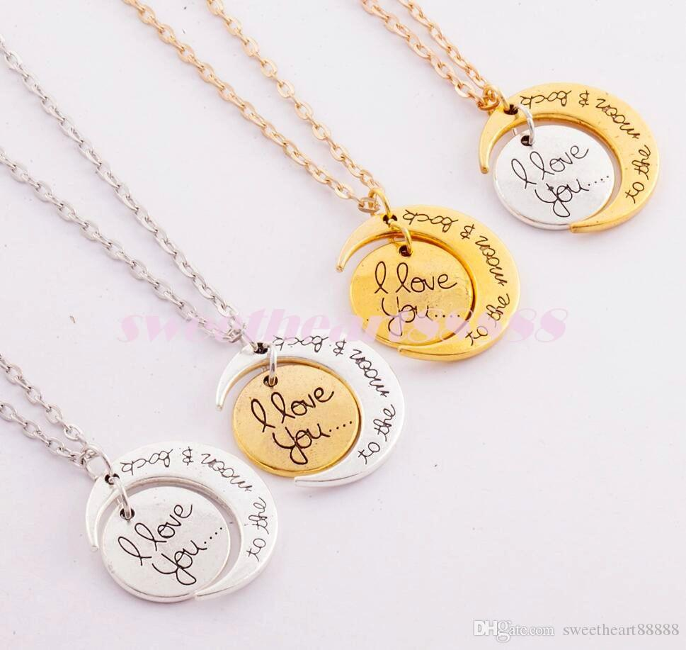 7Styles Ich liebe dich zum Mond und zurück Halskette / Hummer-Haken-Hot-hängende Halskette