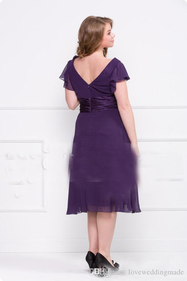 Purple Chiffon Tea Length Mother of Bride Dresses V-neck Sash Short Moms Formal Party Plus Size Gown