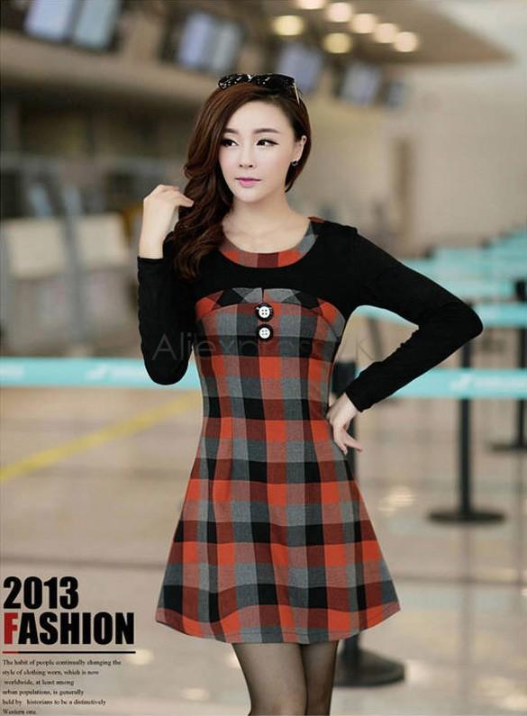 Vestido elegante de las mujeres vendedoras calientes de la vendimia a cuadros de invierno casual vestido de manga larga de invierno con fondo vestido b9 cb031661