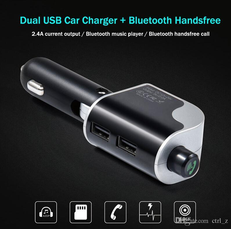 Wireless Car Bluetooth FM Transmitter Hands Free Dual USB Faster Charger 2.4A MP3 Player Car Kit A2DP Bluetooth Auto Kit