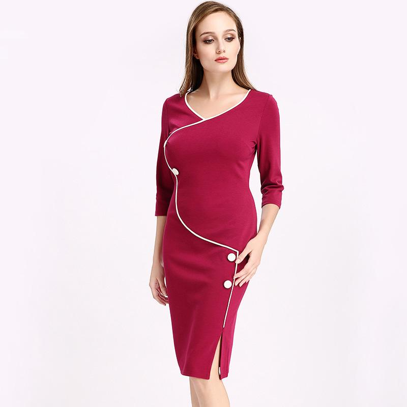 313c412caa Solid Split Career Office Knee Dresses Fashion Casual Work Party ...