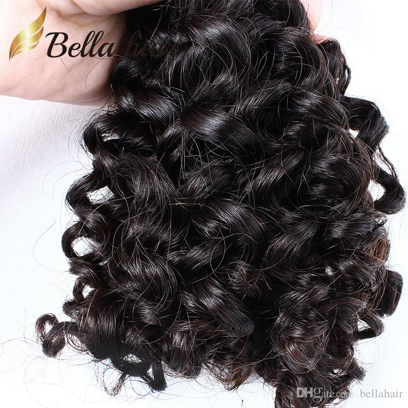 束の巻き毛の閉鎖巻き毛髪伸縮マレーシア人の人間のバージンの髪の毛織り閉鎖(4x4)自然なカラーBellahair Wefts
