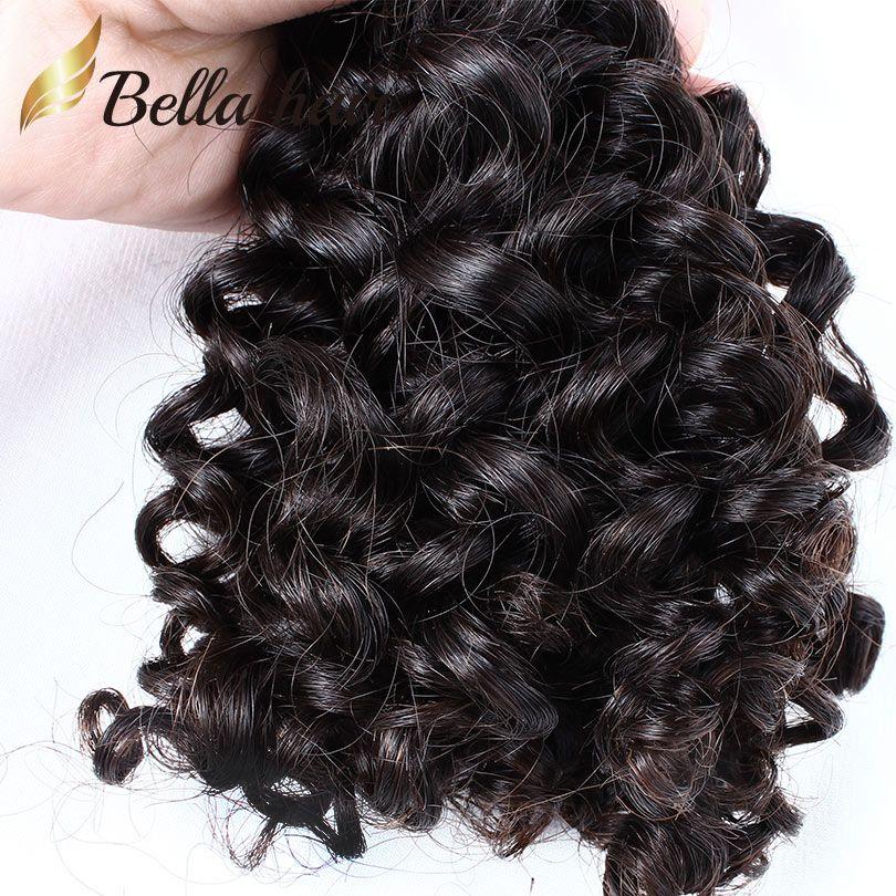 Bella Волосы Бразильские Пакеты Волос Вьющиеся Девы Человеческие Волосы Уситание Усиление Утки Вьющиеся Weaves / Лот Пакеты Оптом оптом навалом