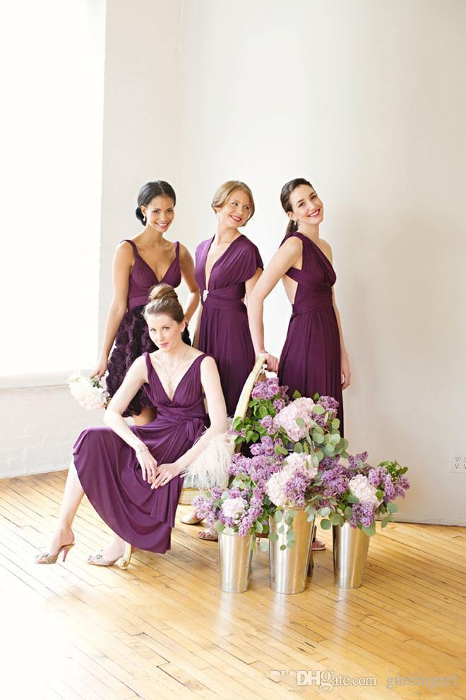 2016 Fashion Short Brautjungfer Kleider Cabrio Veränderbar Knielangen A-Line Trauzeugin Kleid für Hochzeit