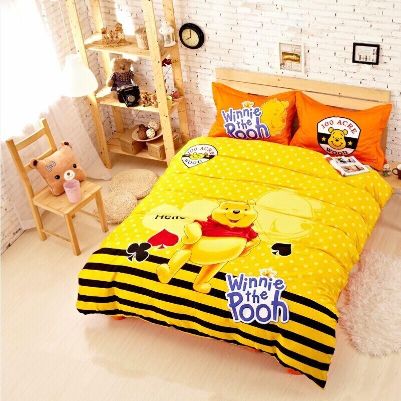 Cute Cartoon Winnie The Pooh Yellow Children S Bedding Set