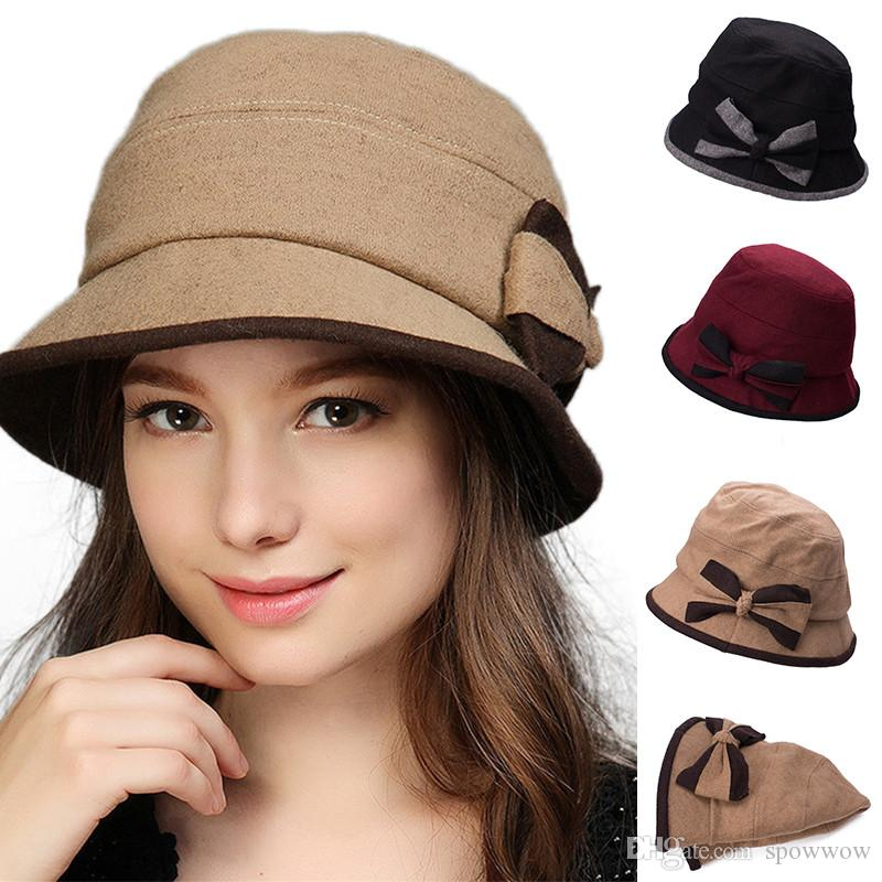 22530a2b56ff86 Bow Detail Womens Winter Warm Hat Crushable Cloche Bucket Church Dress Wool  Blend Bowler Cap T296 Canada 2019 From Spowwow, CAD $16.62 | DHgate Canada