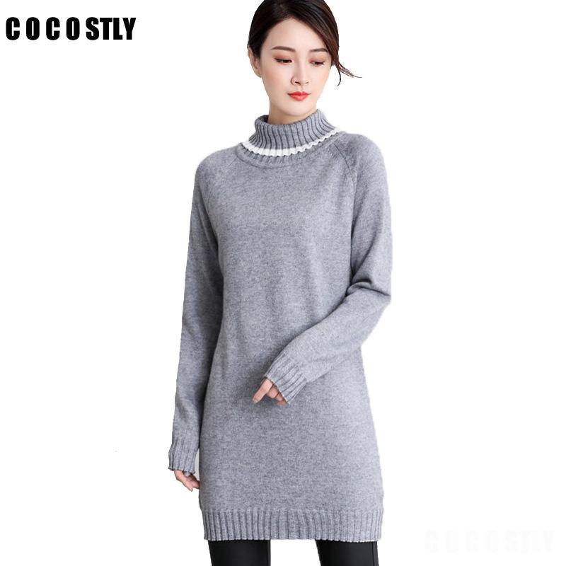 High Quality Cashmere Wool Sweater Women Dress Warm Turtleneck ...