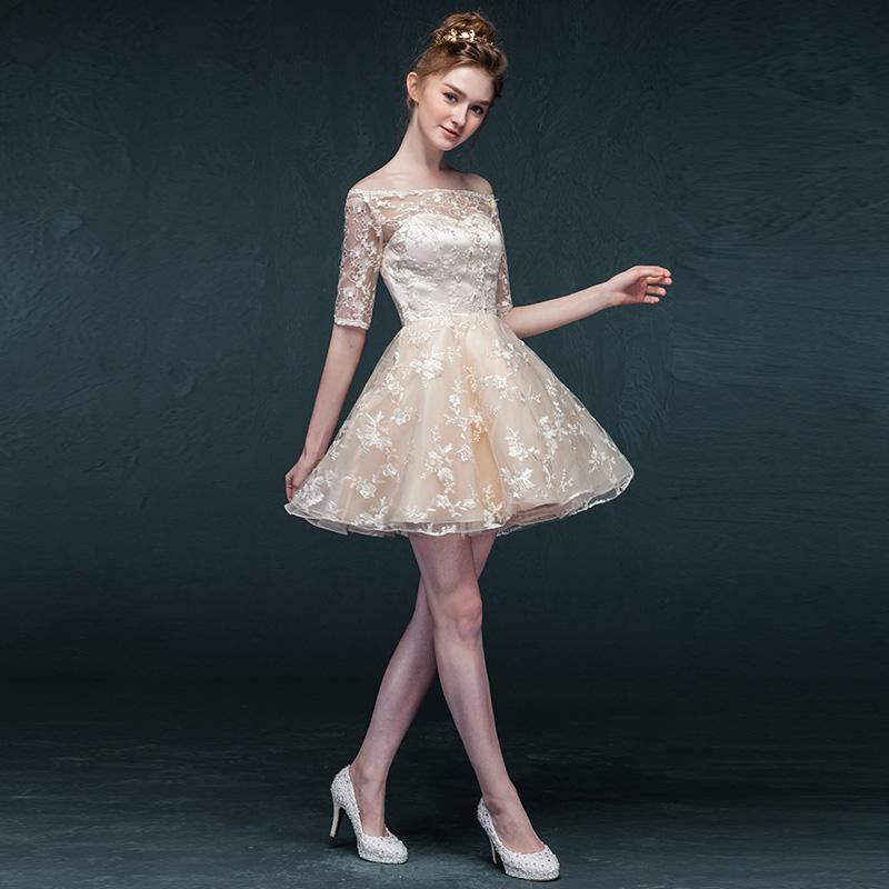 Champagne Sleeved Semi Formal Dress For Teens Lace Overlay Off ...