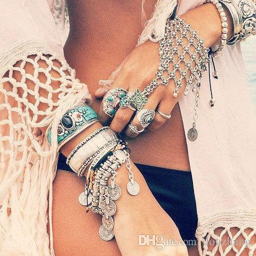 Bohemian Gypsy Turkish Flower Silver Gypsy Ethnic Tribal Festival Statement Finger Ring Slave Chain Harness Bracelet Wholesale