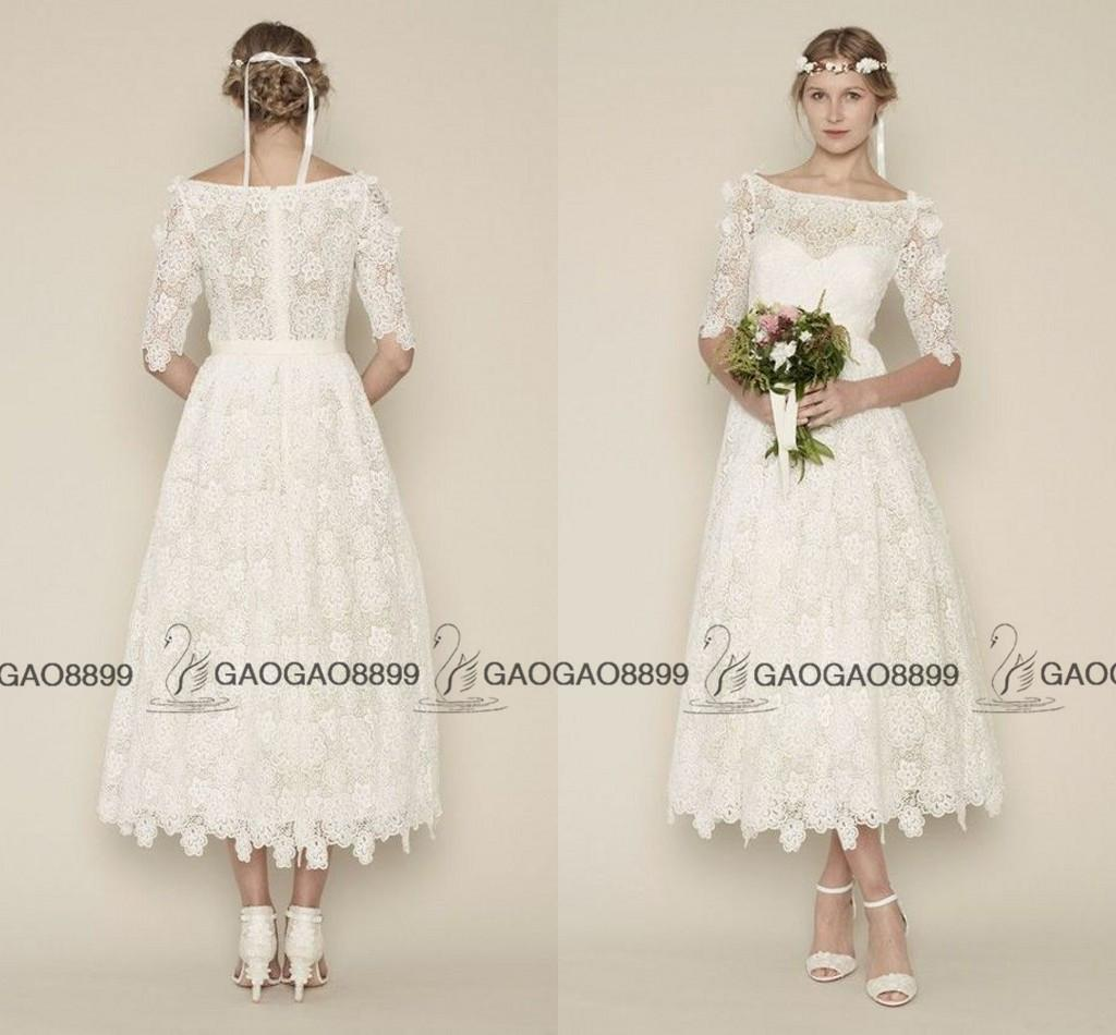 Vintage Lace Tea Length Beach Wedding Dress Short Sleeves: Vintage Lace Tea-length Wedding Dresses With Sleeves 2016