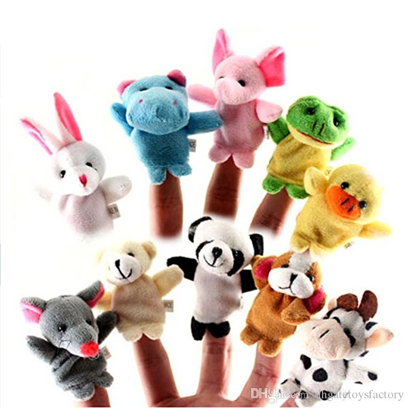 Wholesale Finger Puppet Plush Toys Animals Cartoon Chinese Zodiac Biological Dolls Child Baby Favor Finger Doll Free DHL