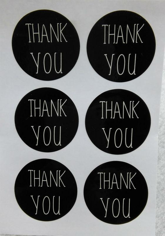 Thank You Labels Thank You Love Self-adhesive Stickers Black Paper ... 2979526758c1