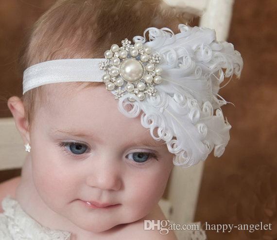 baby White curled feathers soft elastic Headband Pearl Rhinestone for Girl Hair Accessories Newborn Baptism Hairband Photo Prop YM6112