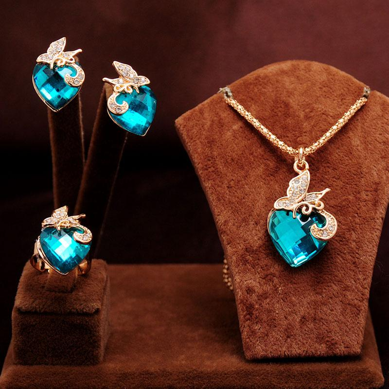 New arrival 14k Gold Filled clear Austrian Crystal blue Rhinestone butterfly&heart Design Necklace Earrings Ring Jewelry Sets