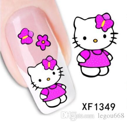 Hello Kitty Cartoon Character Gel Nails Decal Nail Sticker Tip Nail