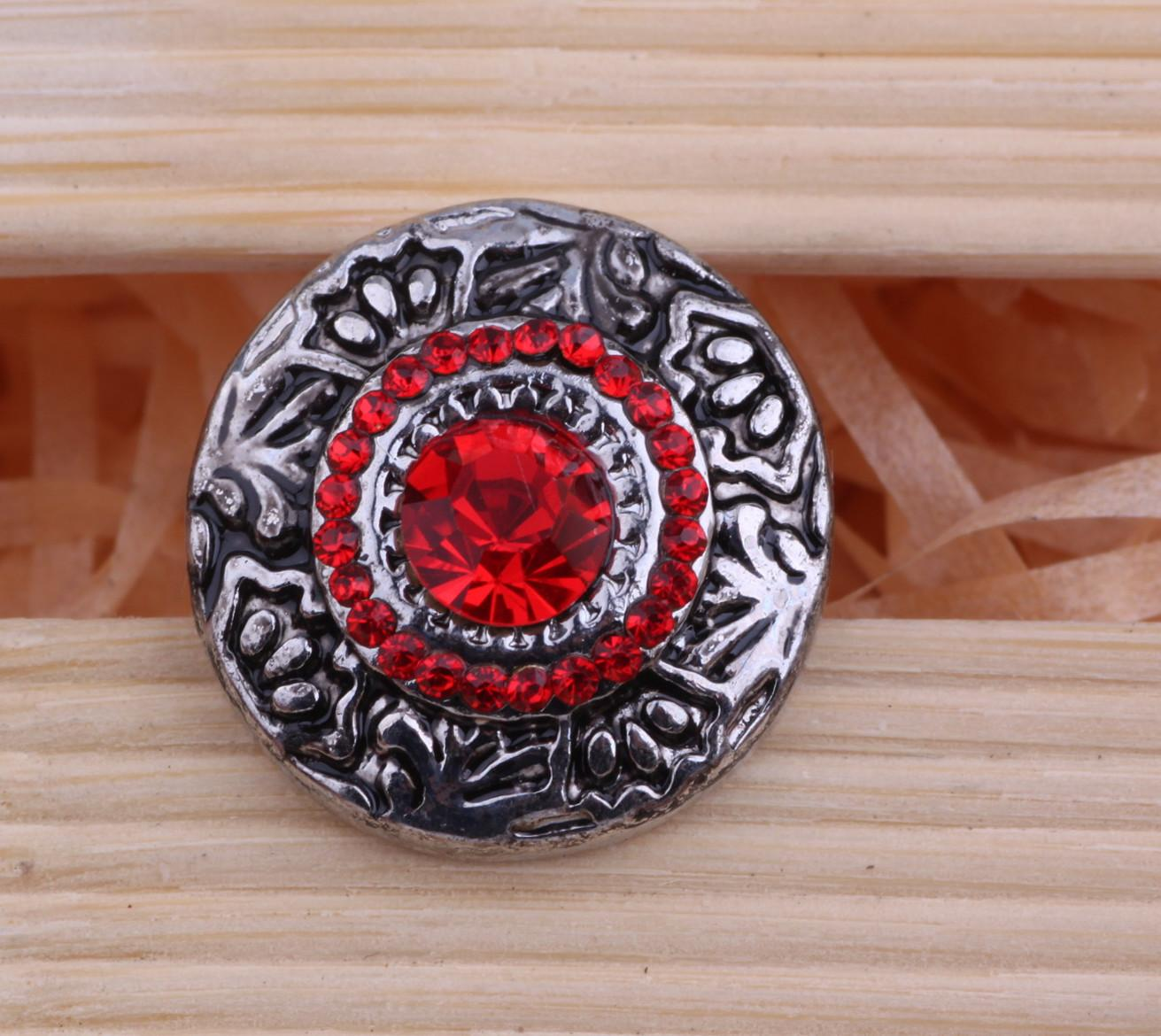 JACK88 Wholesale 20PCS/Lot Snaps RED Crystal Ginger Snap Jewelry Custom 18mm Snap Button Jewelry for Snap Charm Bracelet N292