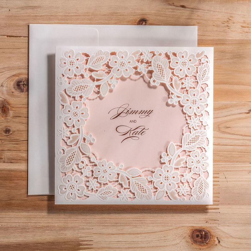 White Vintage Laser Cut Wedding Invitations Card With Envelopes