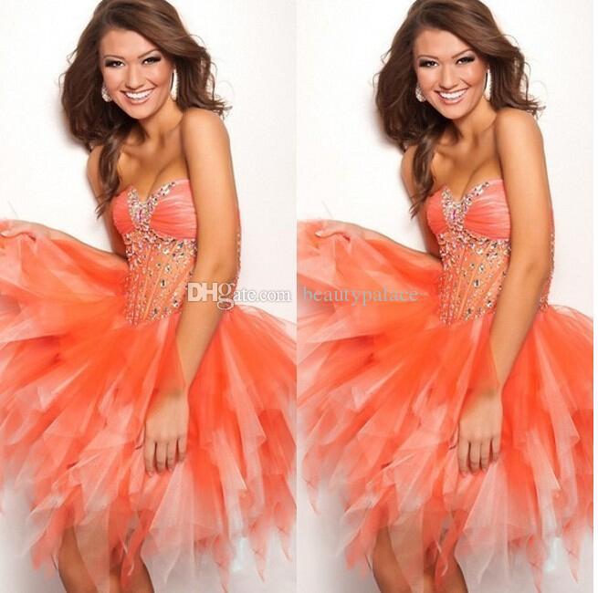 In vendita la migliore vendita in rilievo tulle trasparente mini volant arancione abiti da cerimonia formale ragazze partito abito a buon mercato abito da ballo corto