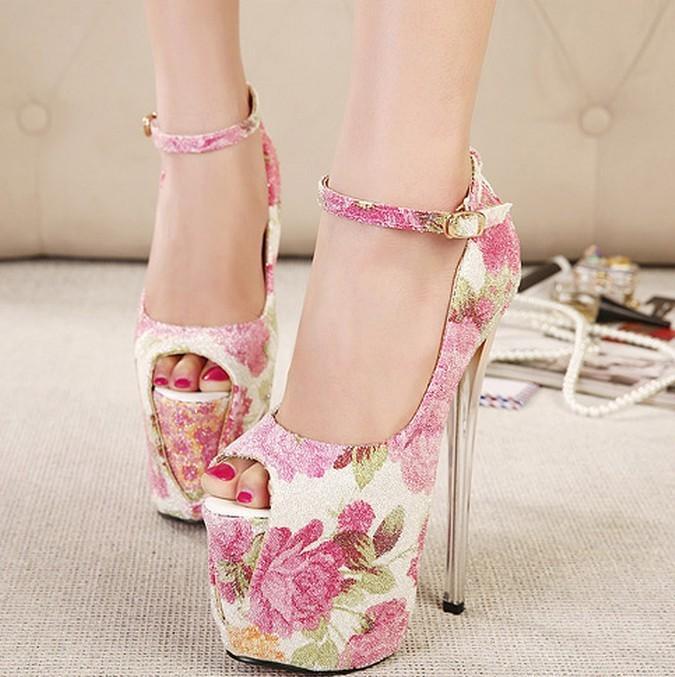 Size35-43 Ultra High Heels 20cm Thin Heels Pumps Platform Open Toe ... 02a060c69034