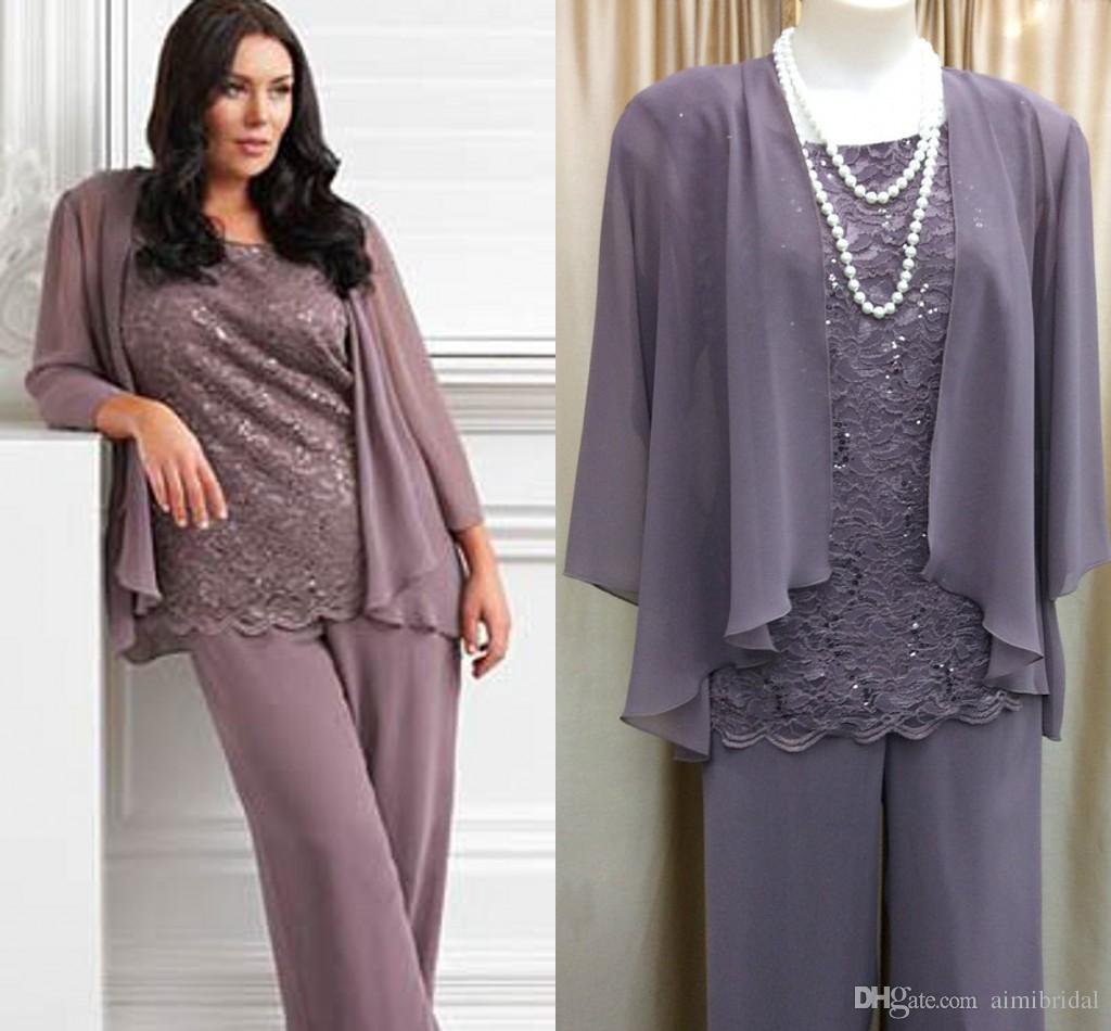 2018 Fashion Light Purple Chiffon Plus Size Pants Suits For Mother ...