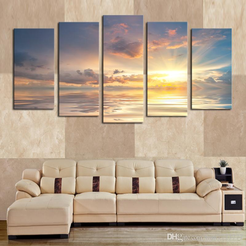 Home Decor 5 Panel Sunrise Clouds Painting High Quality Canvas Art Frameless Gift Painting Wall Art HD Pcitures
